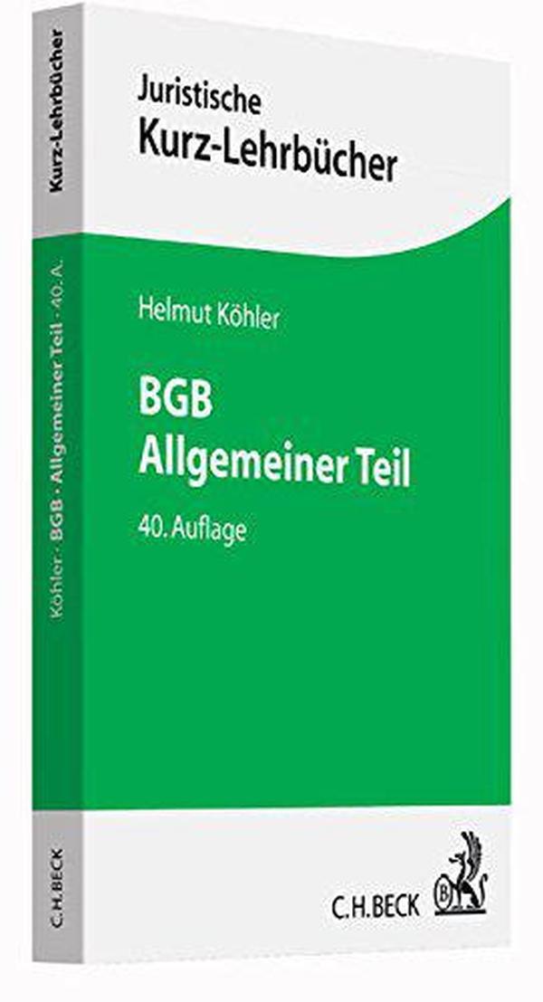 德文原版 德语 BGB Allgemeiner Teil 德国民法总则 教材 教科书 Helmut Köhler