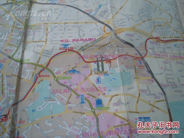 KUALA LUMPUR CITY MAP马来西亚吉隆坡地图 4开 英文原版 吉隆坡城区中心图 谷中区 蕉赖放大图 吉隆坡轨道交通图 地名索引表图片