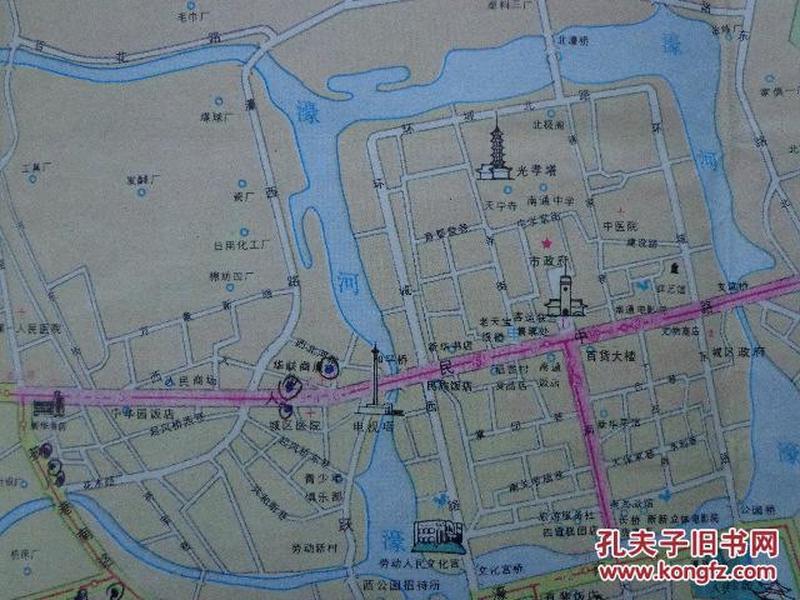 南通旅游图 1988年1版92年4印 4开独版 南通市区交通游览图 南通市