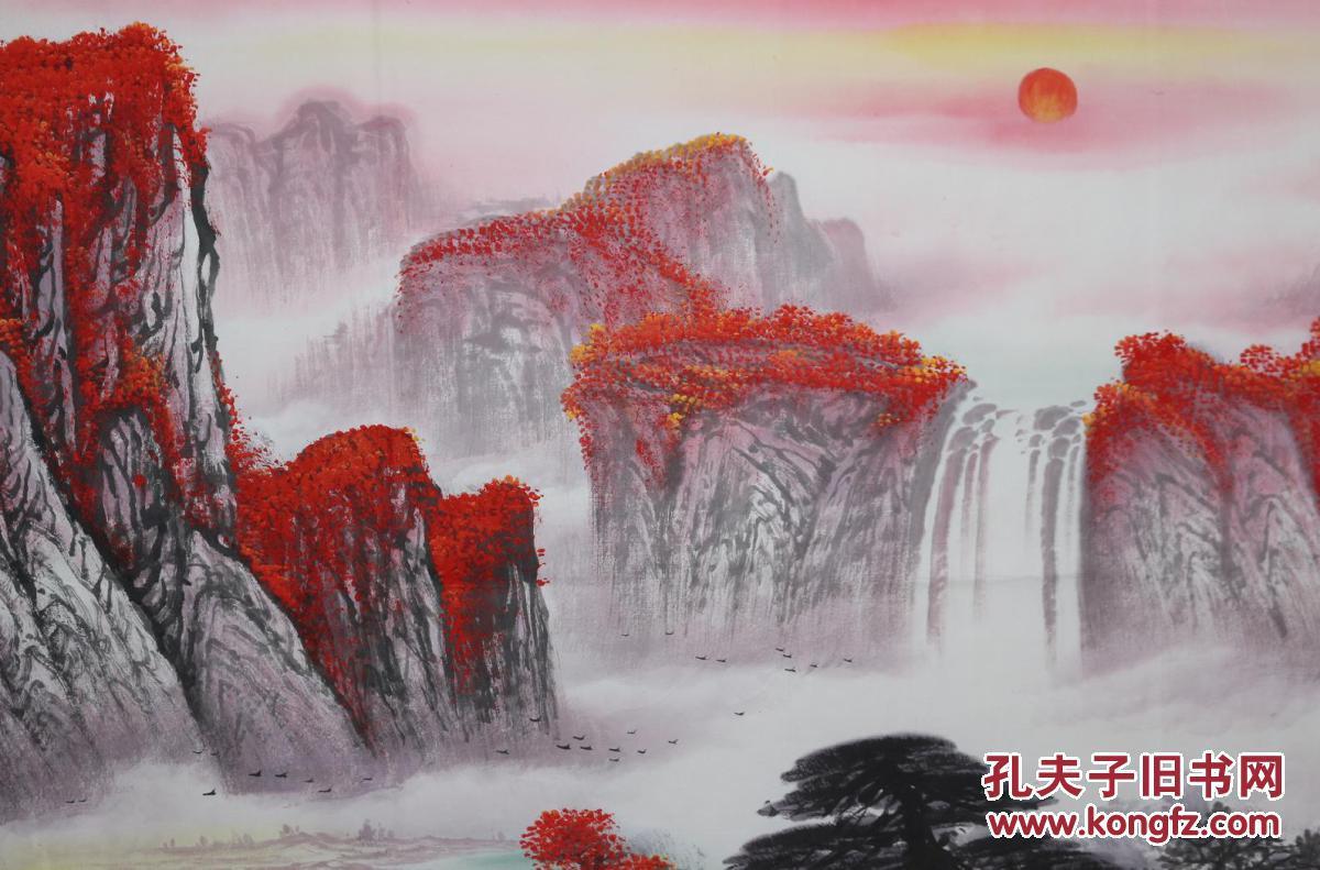 中国美协广西分会员覃老师纯手绘小八尺精品山水【鸿运当头】图片