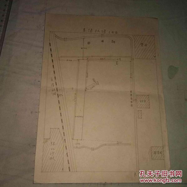早期手绘地图 安阳机场 平面图 1956年