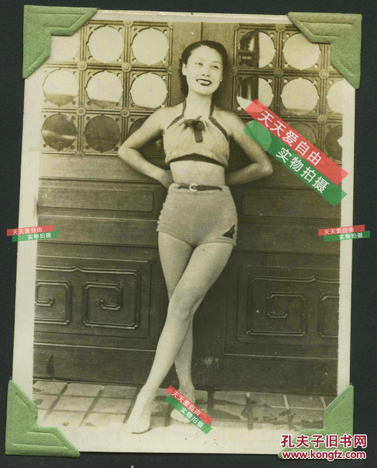 民国美女明星_民国电影明星美女老照片两张,罕见民国泳装造型