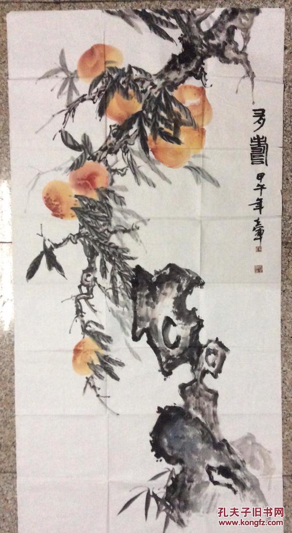 伍立军画多寿图,河北画家 河北省中国画研究会副会长