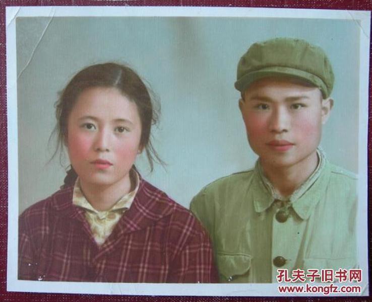 【老照片】美女订婚照,手工彩色