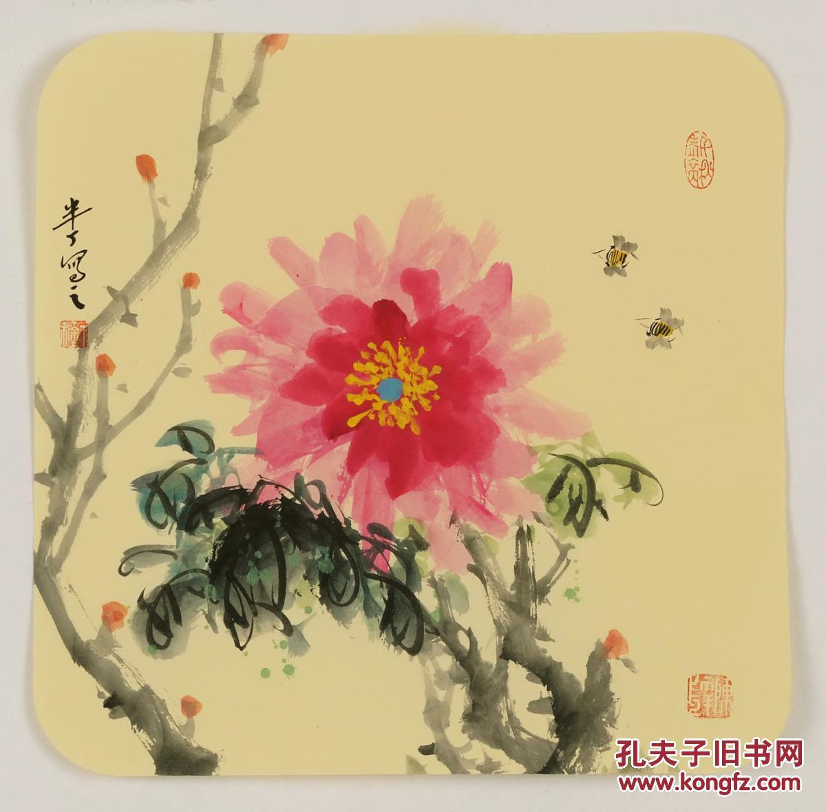 国画名家--陈半丁花鸟【15】国画--芙蓉花蜜蜂 手绘 小品图片