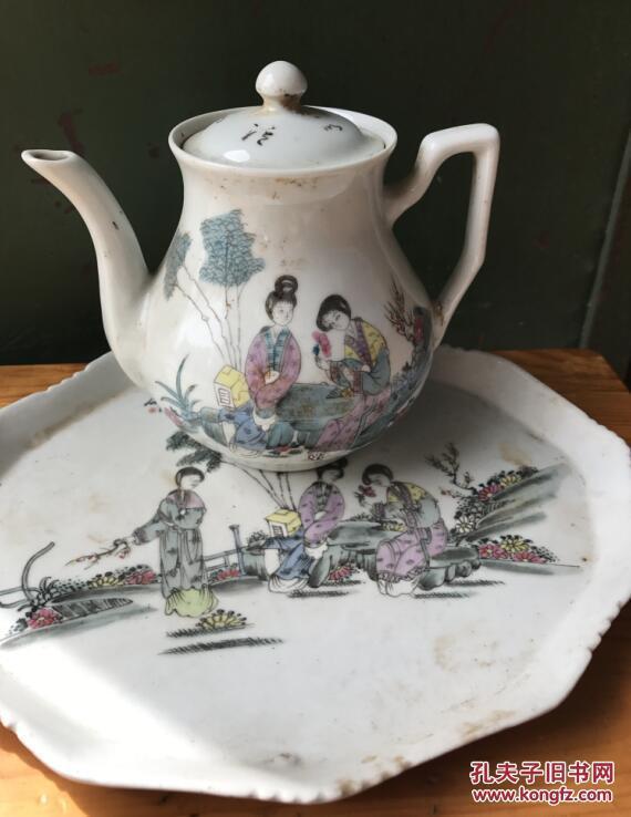 收来的早期瓷器一套 手工制作手工绘画人物 茶壶茶杯