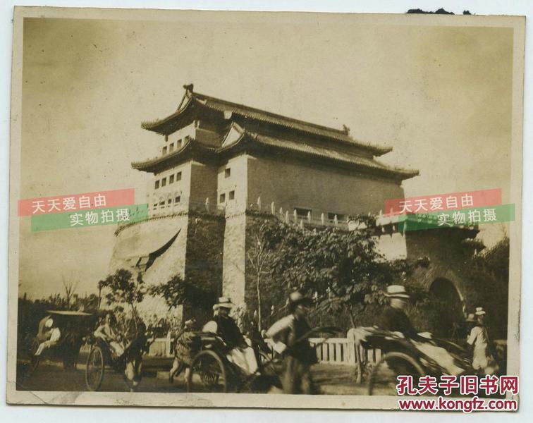 民国北京正阳门城楼箭楼背面从东北向西南拍摄的老照片