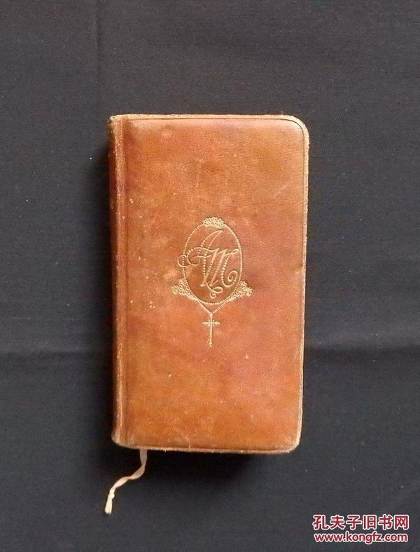 1921年AVE MARIA!法语圣母玛利亚虔诚的祈祷牛皮软精装三面刷金袖珍版