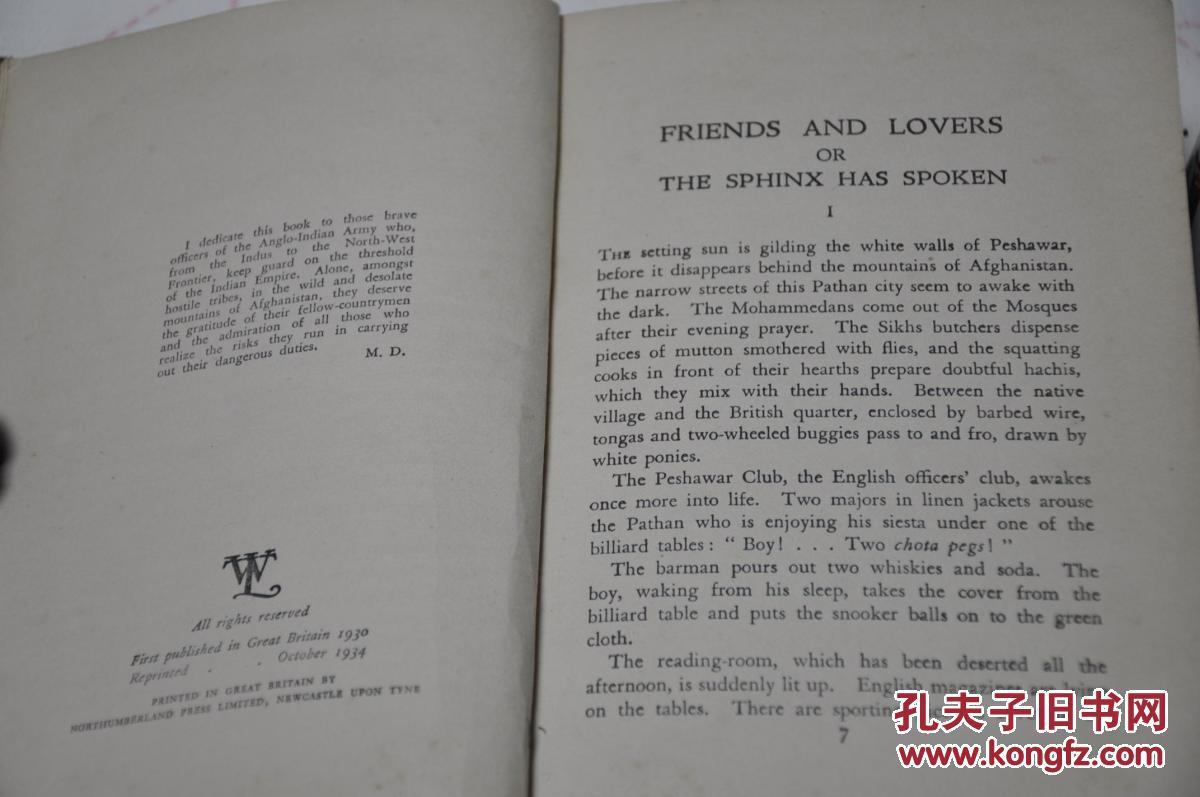 1930年版,1934年印刷,英文精装原版,孔网唯一,朋友和情人 friends and