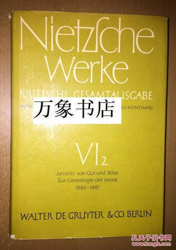 Nietzsche 尼采全集 VI-2卷 Jenseits von Gut und Bose Zur Genealogie der Moral 精装 最权威版本 Colli/Montinari编