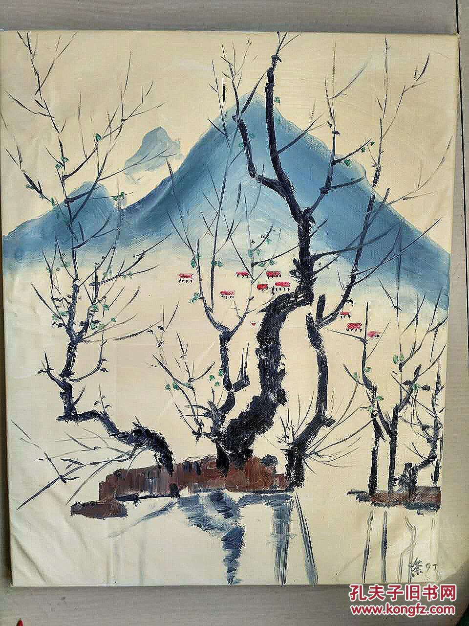 吴冠中油画 纯手绘 风景 特价图片