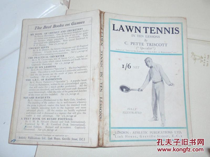 早期英文原版伦敦出版关于网球的书:lawn tennis in ten lessons...L2