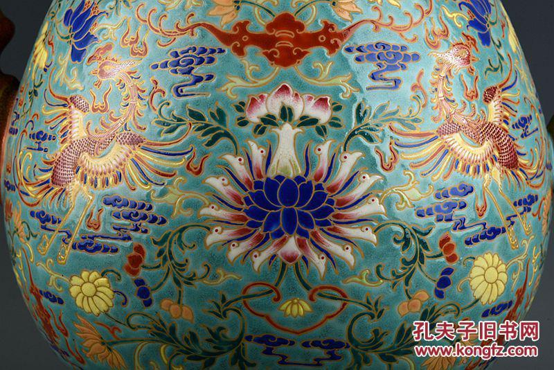 清乾隆年制珐琅彩鎏金福寿延年风穿花纹多穆壶 古玩古董古瓷器
