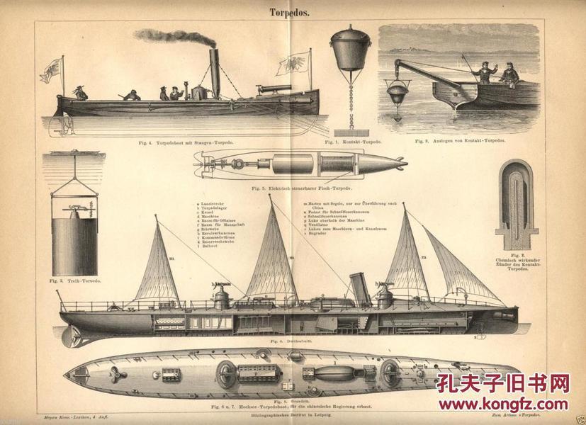 【十天到货 包邮】【孔网仅见】1887年德文版北洋水师鱼雷艇蓝图