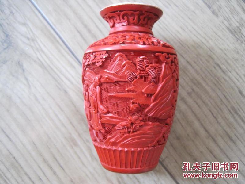 精美回流《铜胎雕漆人物小花瓶》保真,品好无磕碰