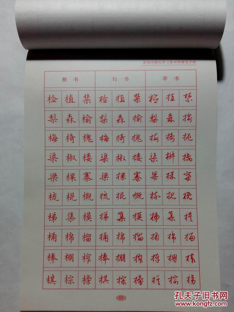 楷书行书草书三体对照硬笔书法字帖 2900多常用字图片