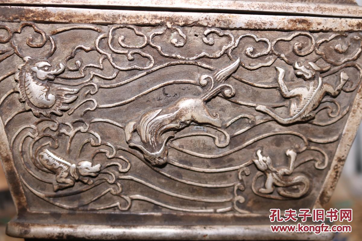 【收藏级】【珍品】 【精品古玩】:创汇时期铜鎏银满工龙凤双狮耳鼎图片