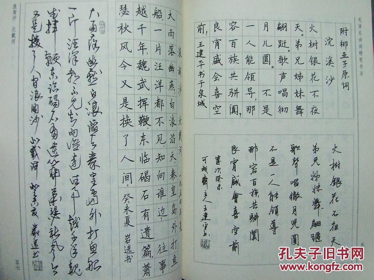 毛泽东诗词硬笔书法图片