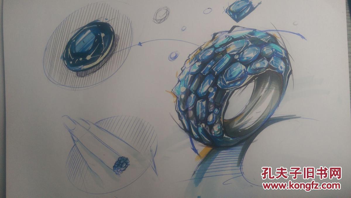 宝石戒指设计图手稿