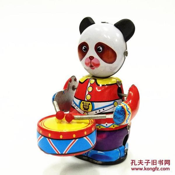 7080后怀旧经典儿时童年回忆传统发条铁皮打鼓小熊猫敲鼓乐队玩具