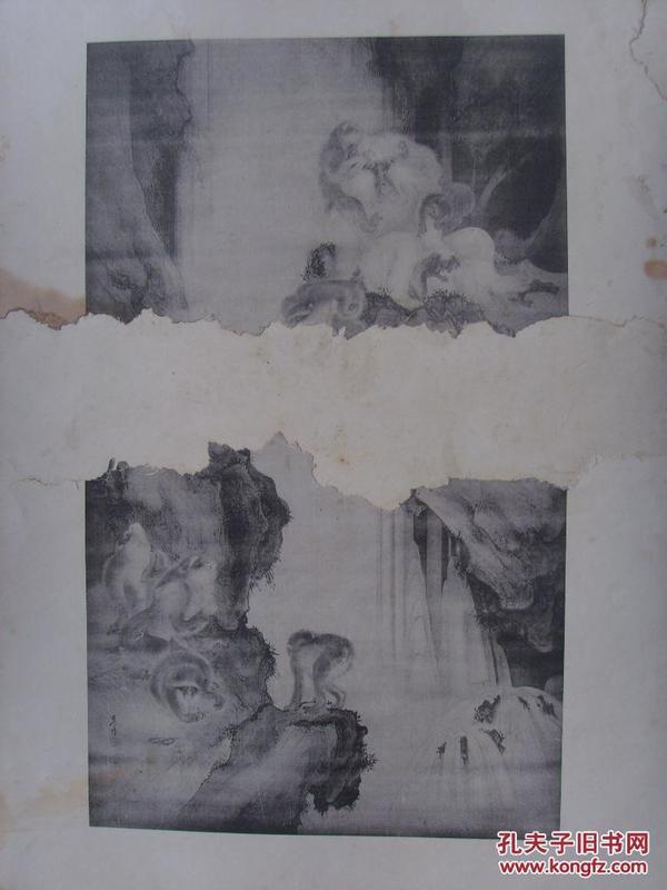 楼台、猿猴,两幅残画(合粘)