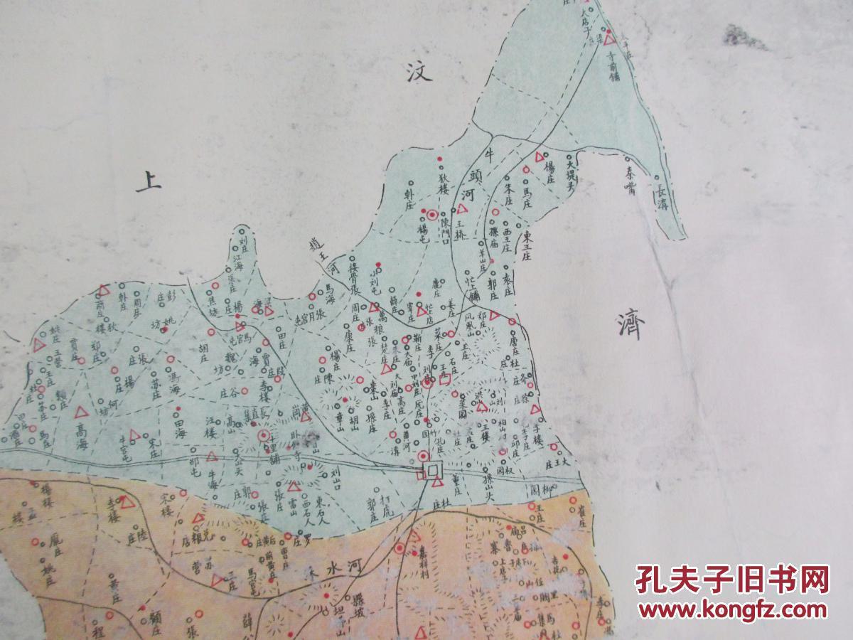 大约2-30年代 彩色石印山东省地图资料 ---山东省嘉祥县学区图 一幅
