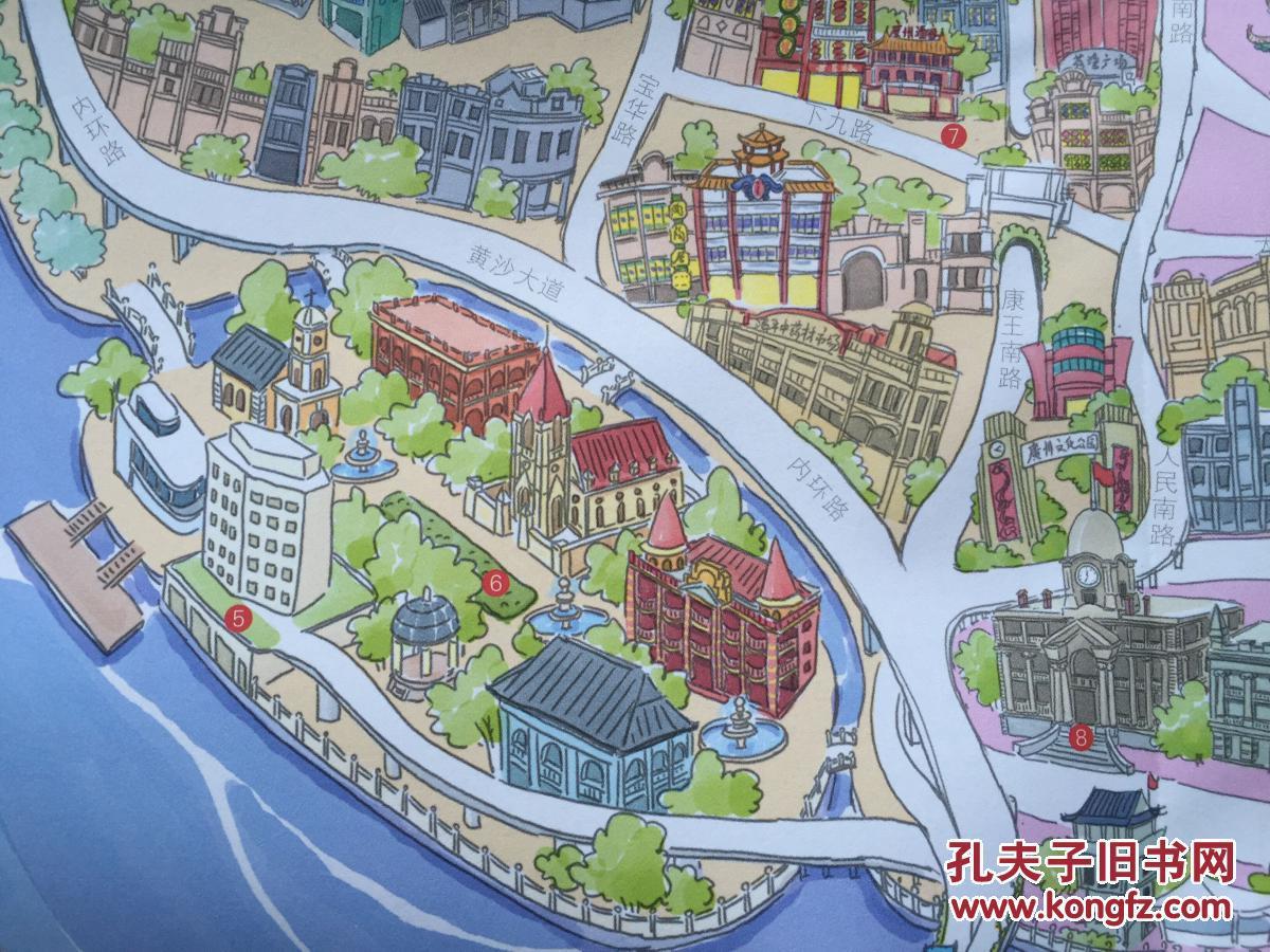 广州手绘地图 广州地图 广州市地图 广州交通图 手绘地图