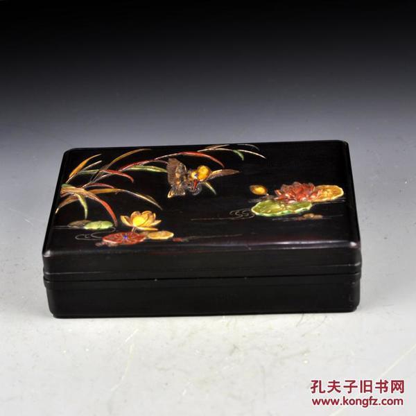 紫檀百寶嵌鳥禽圖首飾盒