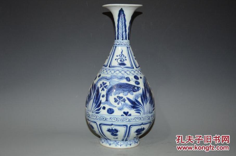 青花�:a�9���i�y�_元青花鱼藻纹玉壶春瓶i