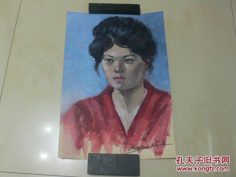 名家水彩画:《红衣女子》(画家黄辉70年代写生)