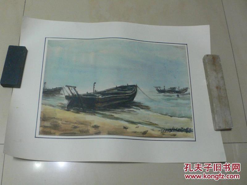 名家水彩画:《北戴河之五——船歌》(画家黄辉写生)