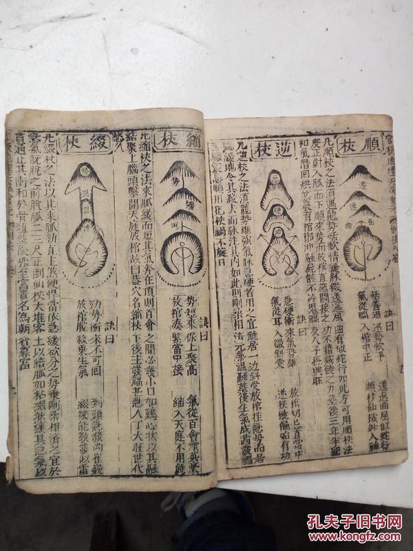 明版,木刻大开本地理风水书.官板地理天机会元,卷六七八三卷合订一厚本