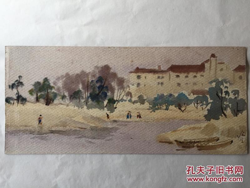 保真!上海老一辈著名画家 哈定 水彩作品《风景》