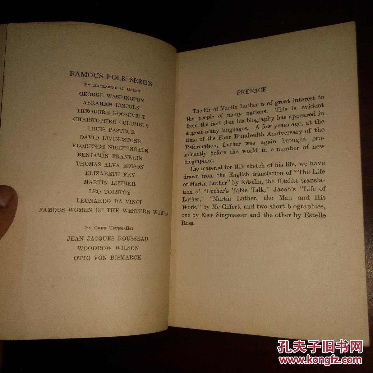 【图】马丁路德 英文世界名人传记 民国书缺中