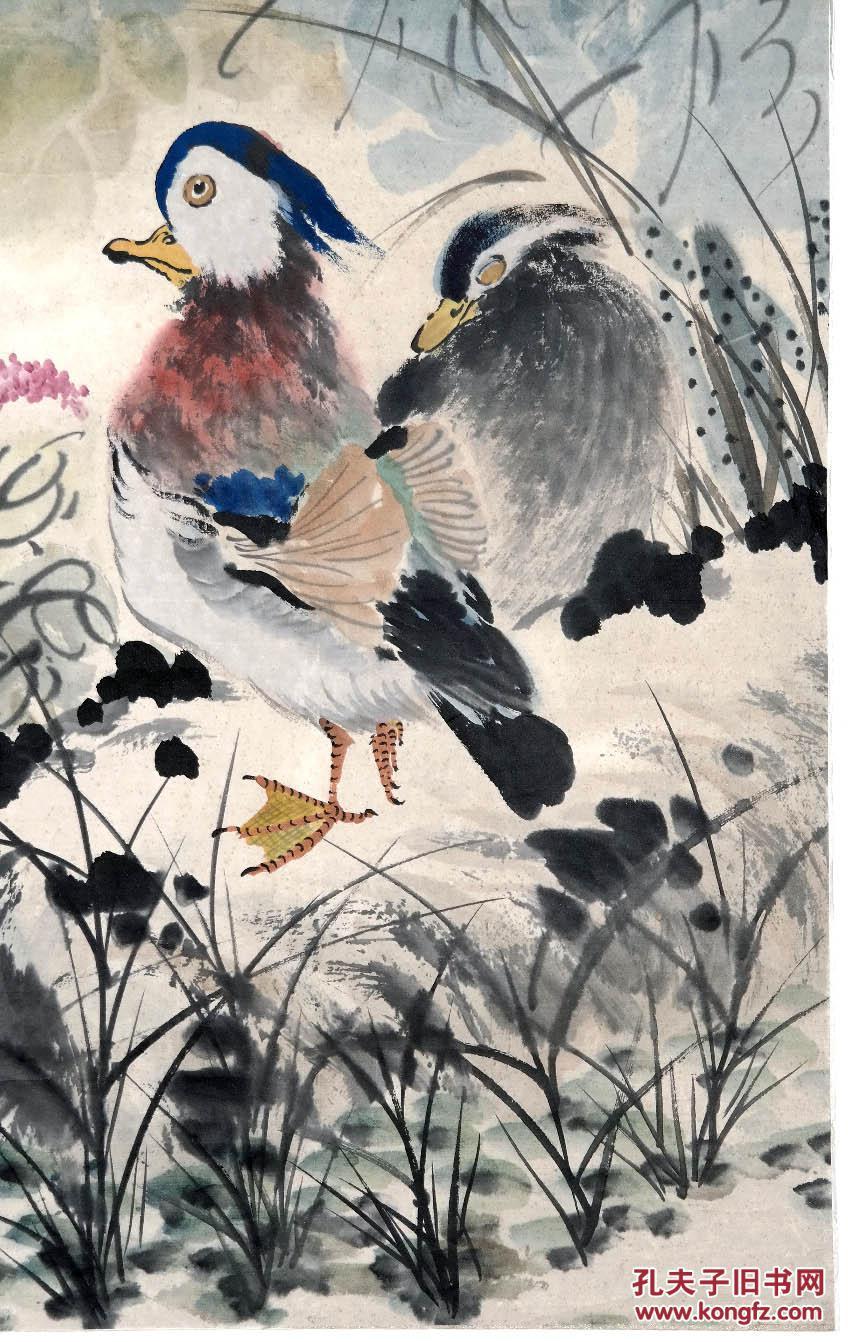 """《1953年手绘花鸟画●鸳鸯荷花图》原托老镜心◆近现代""""海上画派""""名人图片"""