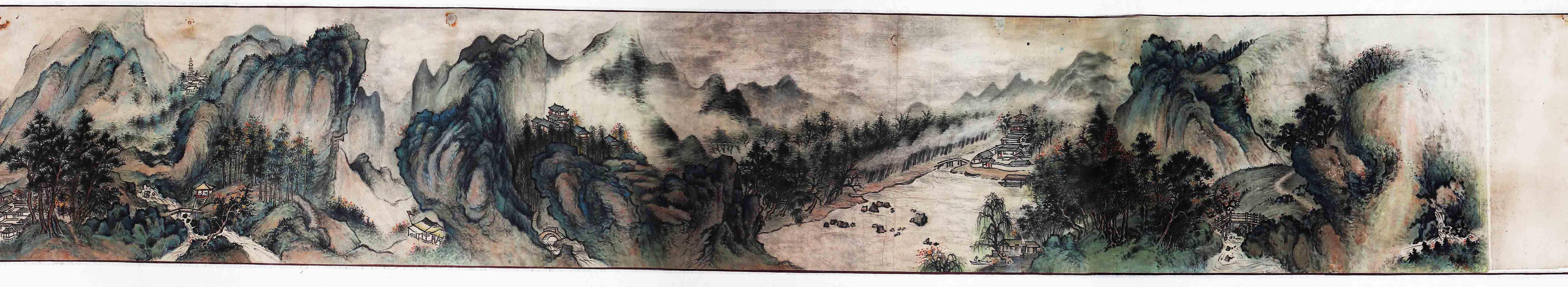 山水国画长卷图片