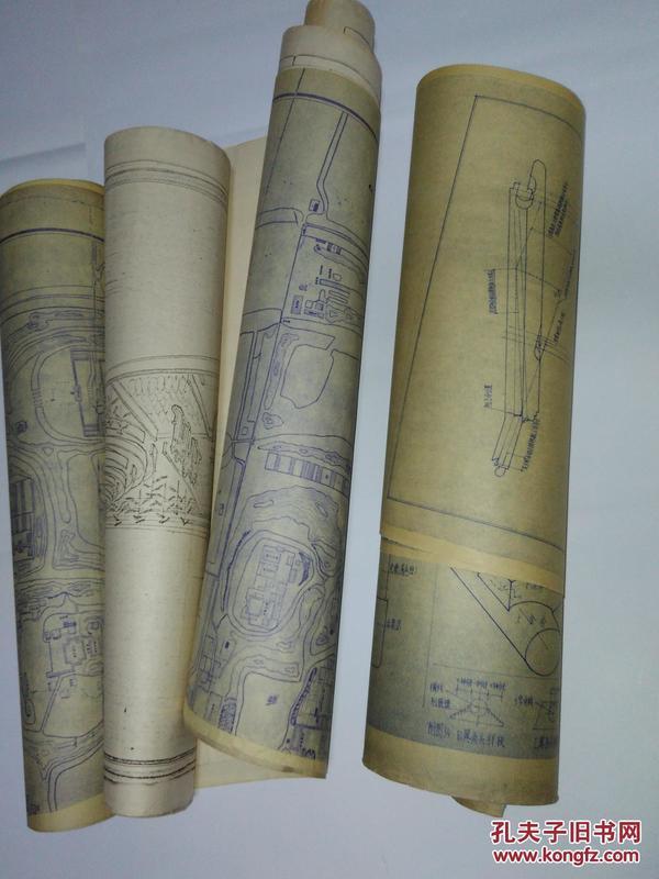 民国25年印晒蓝图:圆明园总图(3张拼起来)、长春园西洋楼全景示