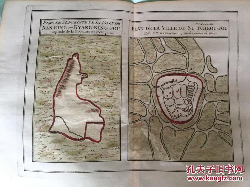 1750年左右南京,苏州地图  外文