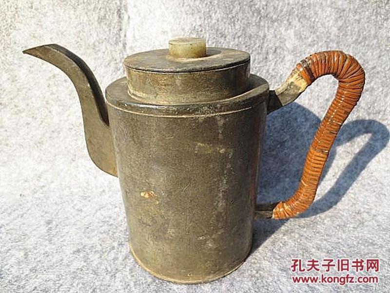 清代泰和昌号自造点铜玉钮锡壶锡酒壶/