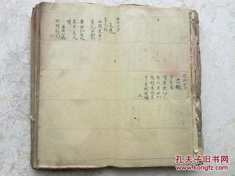 《手写族谱》                            手写本                          一大厚册