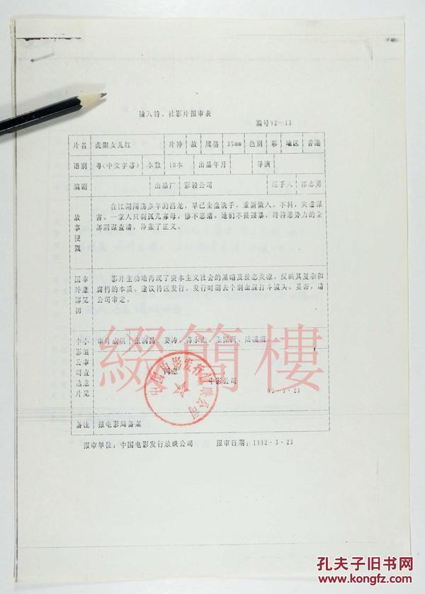 张润昌、姜涛、蒋永杰等审查  1992年引入王龙威执导  香港影片《虎胆女儿红》