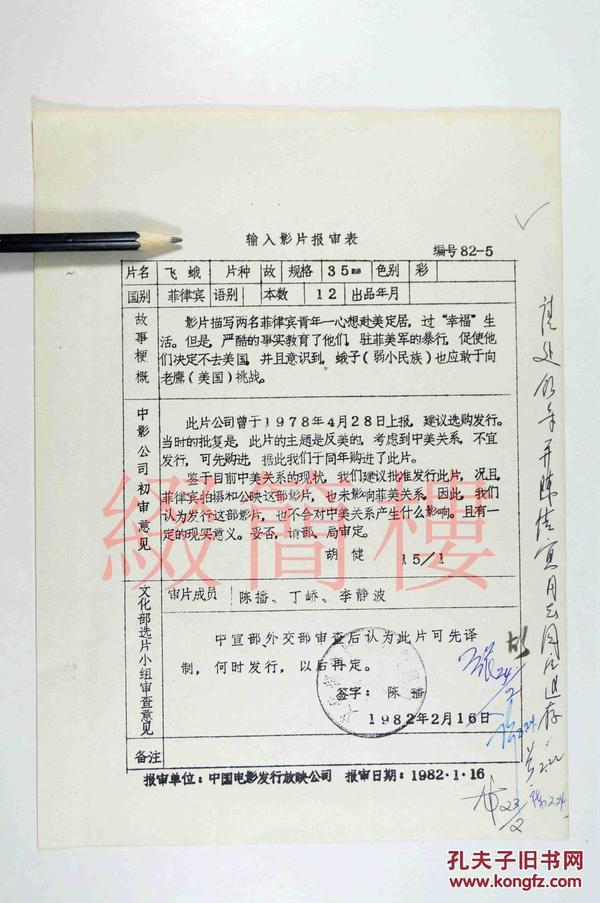 陈播、丁峤、李静波等人审查 1982年引入菲律宾影片《飞蛾》