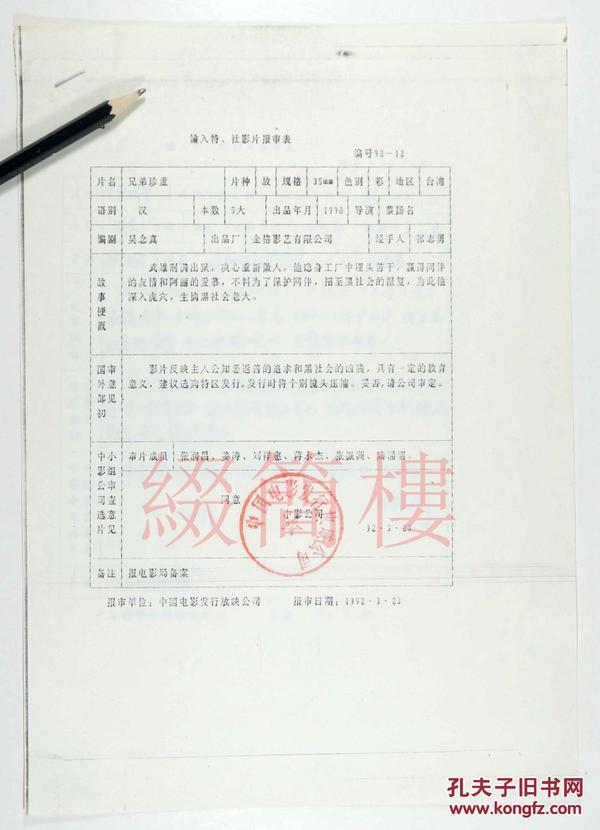 张润昌、姜涛、刘祥惠等审查  1992年引入蔡扬名执导  台湾影片《兄弟珍重》
