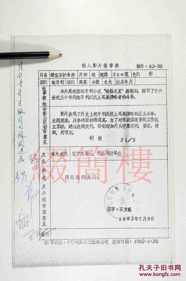 石方禹、胡其明等人审查 1982年引入匈牙利影片《绿宝石护身符》