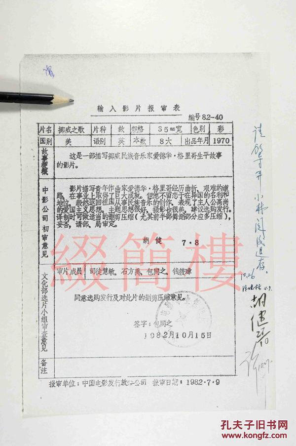 司徒慧敏、石方禹、钱筱璋、包同之等人审查 1982年引入Andrew L. Stone执导 美国影片《挪威之歌》