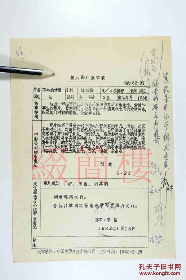 丁峤、陈播、胡其明等人审查 1982年引入法国影片《不朽的情侣》