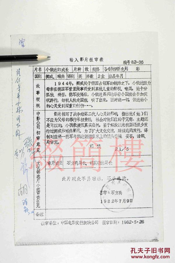 石方禹、胡其明等人审查 1982年引入挪威影片《小依达的成长》