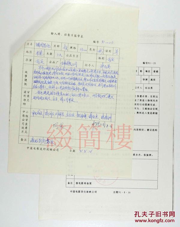 张润昌、刘祥惠、金忠强等人审查  1991年引入 高宾执导 香港影片《赌国恩仇》