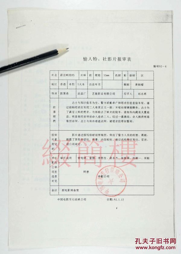 童刚、李哲生、曾宪瑞等审查  1992年引入陈勋奇执导  香港影片《最佳贼拍档》