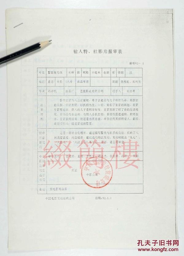 童刚、李哲生、曾宪瑞等审查  1992年引入冯淬帆执导  香港影片《警匪斑马线》
